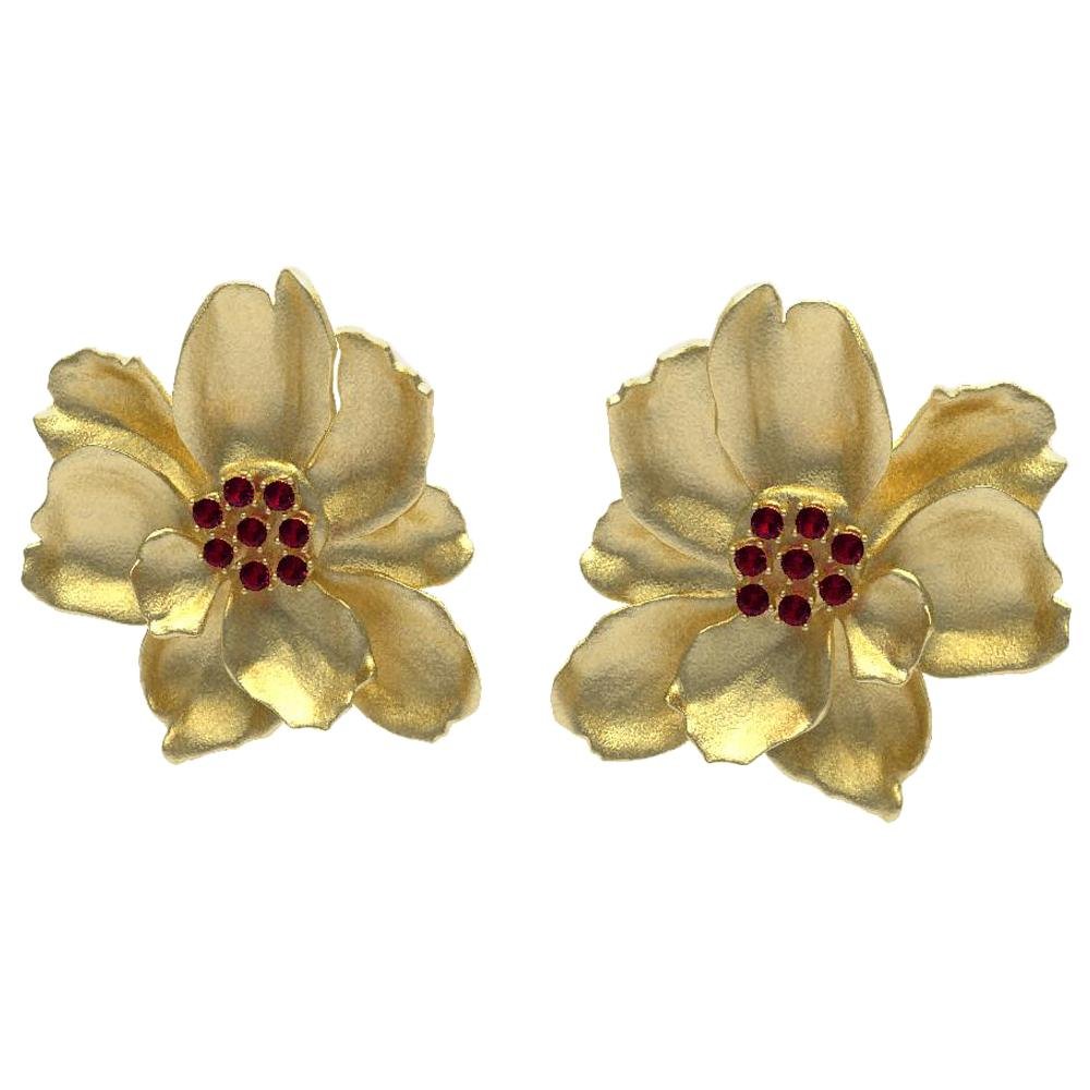 18 Karat Yellow Gold Wild Flower Earrings with Rubies