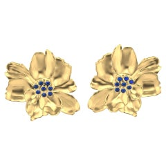 18 Karat Yellow Gold Wild Flower Earrings with Sapphires