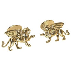 18 Karat Yellow Gold Winged Griffin Cufflinks