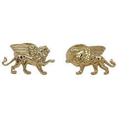 18 Karat Yellow Gold Winged Lion Griffin Cuff links