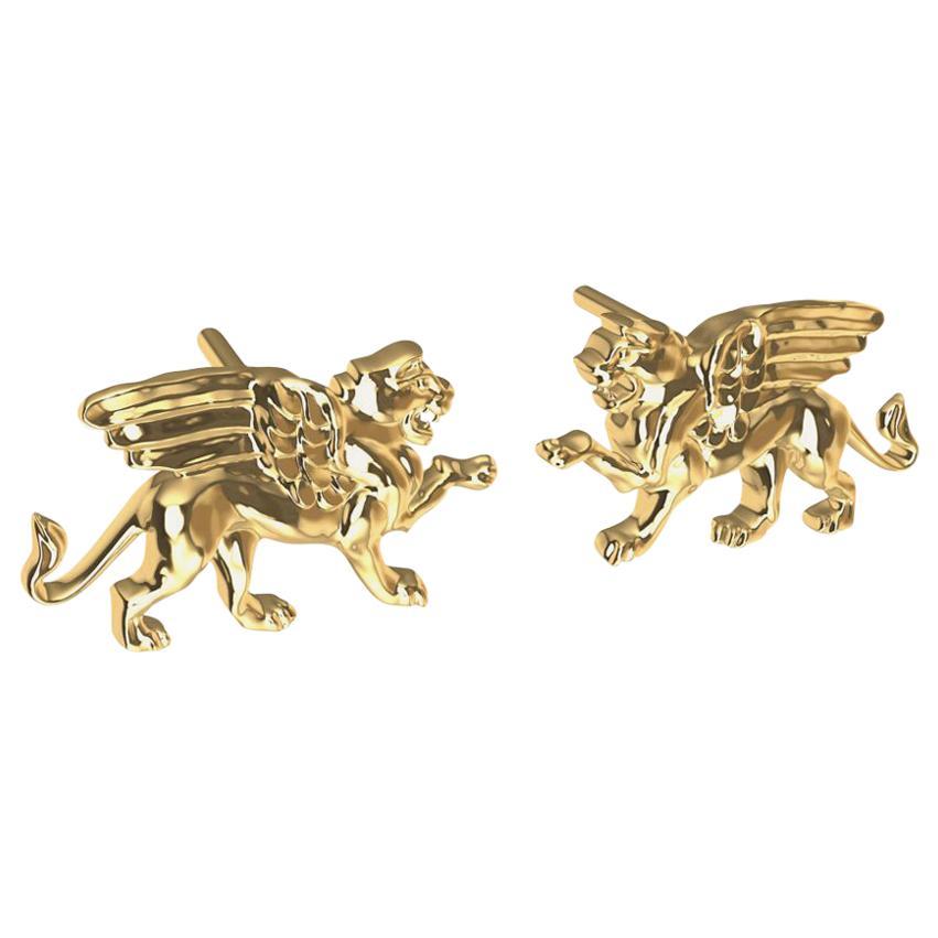 18 Karat Yellow Gold Winged Lion Griffin Stud Earrings