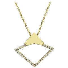18 Karat Yellow Gold with 0.22 Carat Diamond Pavé Orbita Necklace