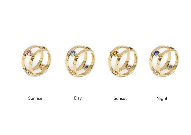 18 Karat Yellow Gold with 4 natural Multi-Color Sapphires Ring For Sale 5