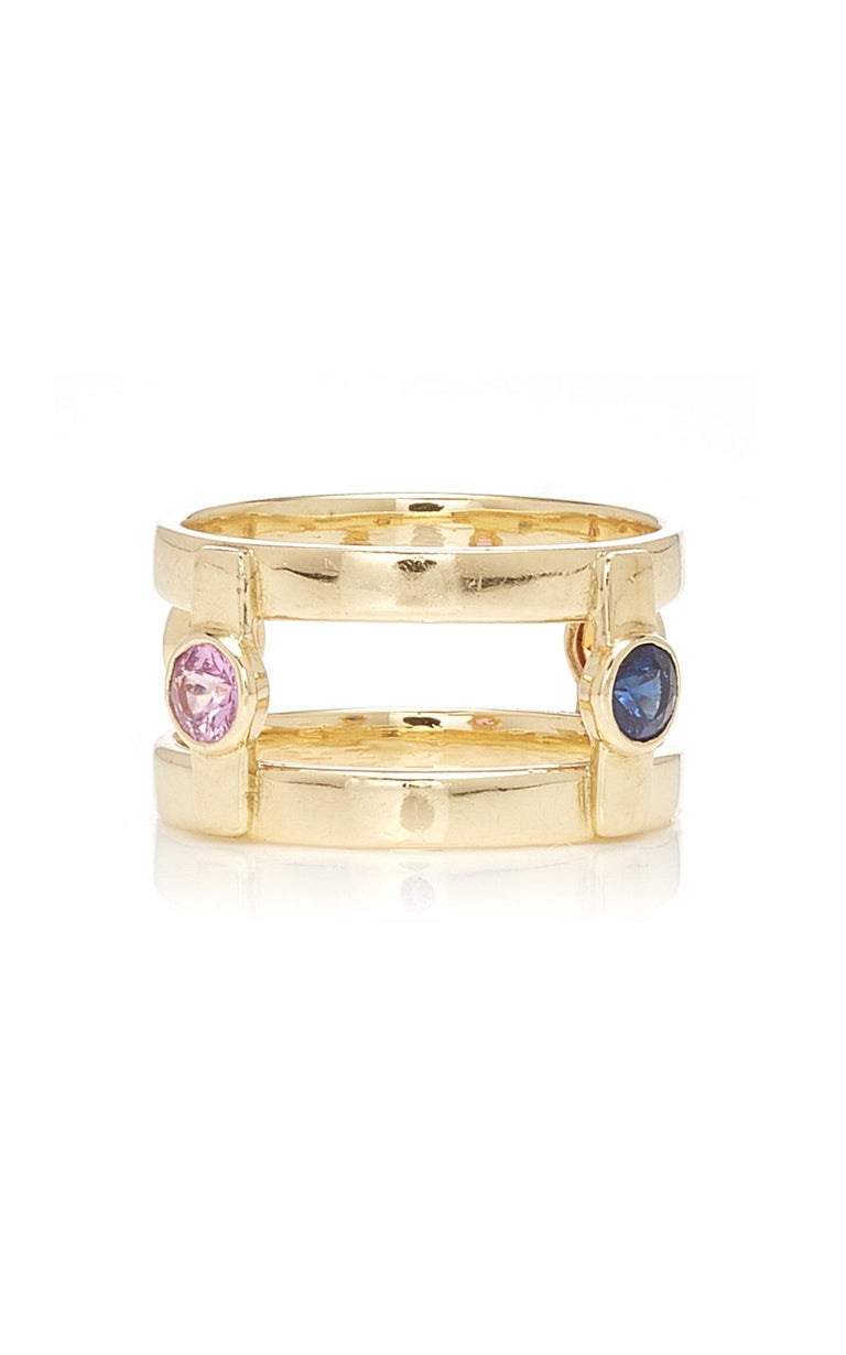 Round Cut 18 Karat Yellow Gold with 4 natural Multi-Color Sapphires Ring For Sale