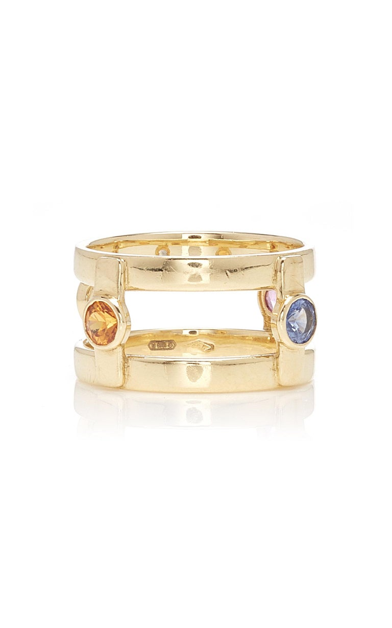 Women's or Men's 18 Karat Yellow Gold with 4 natural Multi-Color Sapphires Ring For Sale