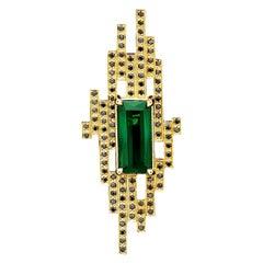 18 Karat Yellow Gold with 4.93 Carat Tourmaline and Black Diamond Cocktail Ring