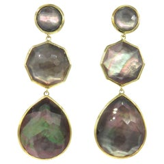 18 Karat Yellow Gold with a Carved Mother of Pear Ippolita Dangle Earrings