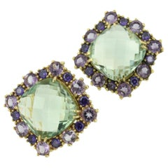 18 Karat Yellow Gold with Amethyst and Green Amethyst Earrings