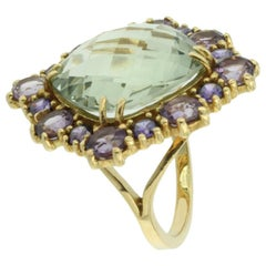 18 Karat Yellow Gold with Amethyst and Green Amethyst Ring