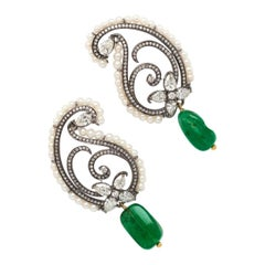 18 Karat Yellow Gold with Antique Plating, Diamond & Emerald Earrings