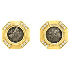 18 Karat Yellow Gold With Coin as Center Stone Earrings