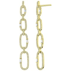 18 Karat Yellow Gold with Diamond Link Drop Earring