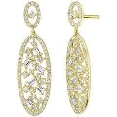 18 Karat Yellow Gold with Diamond Oval Drop Earring