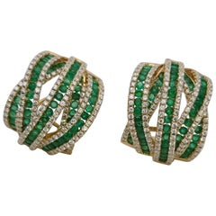 18 Karat Yellow Gold with Diamonds and Emeralds Hoop Modern Earrings