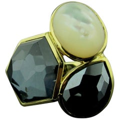 """18 Karat Yellow Gold with Mother of Pearl and Onyx """"Ippolita"""" Ring"""
