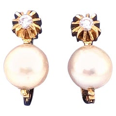 18 Karat Yellow Gold with Platinum Lever Back Pearl Earrings
