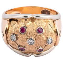18 Karat Yellow Gold with Ruby and Diamond Ring