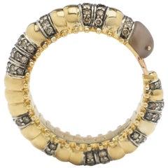 18 Karat Yellow Gold with Smoky Quartz and Diamonds Millipede Eternity Ring
