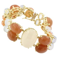18 Karat Yellow Gold with White and Peach Moonstone and Chalcedony Bracelet