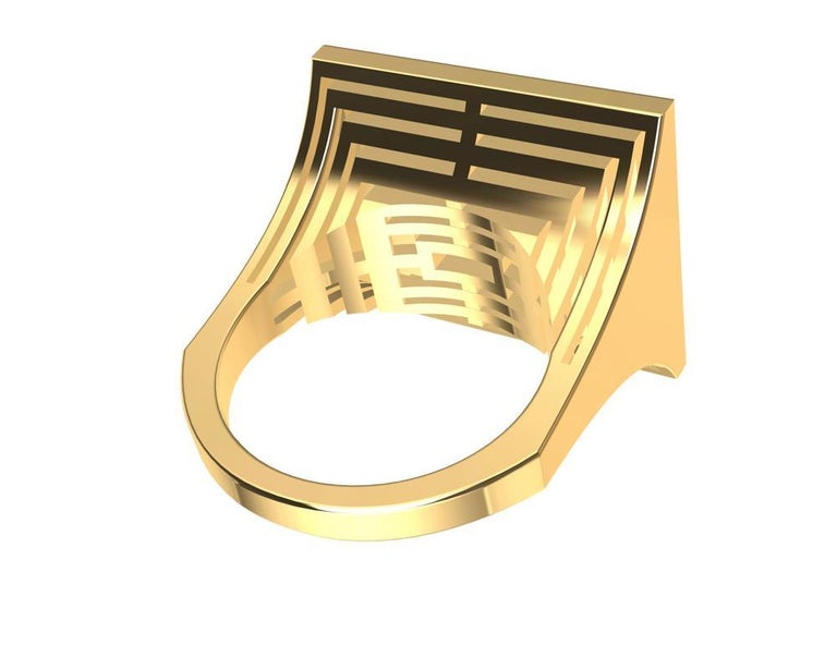 18 Karat Yellow Gold Women's Rectangle Rows Ring For Sale 9