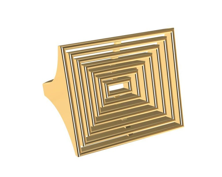 18 Karat Yellow Gold Women's Rectangle Rows Ring,  Tiffany Designer, Thomas Kurilla brings back his sculpture influences in this Open Air Series.  Inspireded by car design function, light, and air movement .  Simple cascading  rectangle rows down to