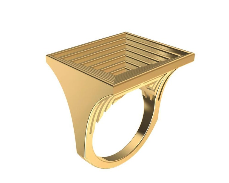 18 Karat Yellow Gold Women's Rectangle Rows Ring In New Condition For Sale In New York, NY