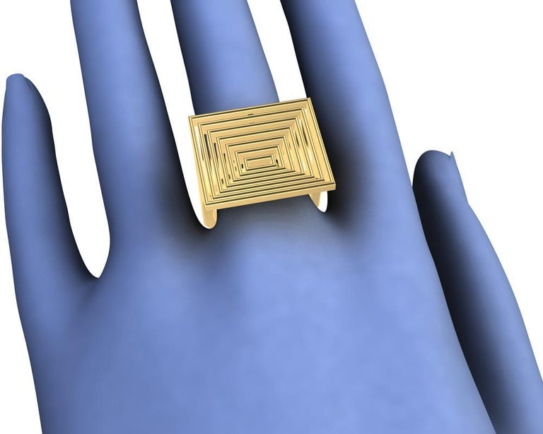 18 Karat Yellow Gold Women's Rectangle Rows Ring For Sale 1