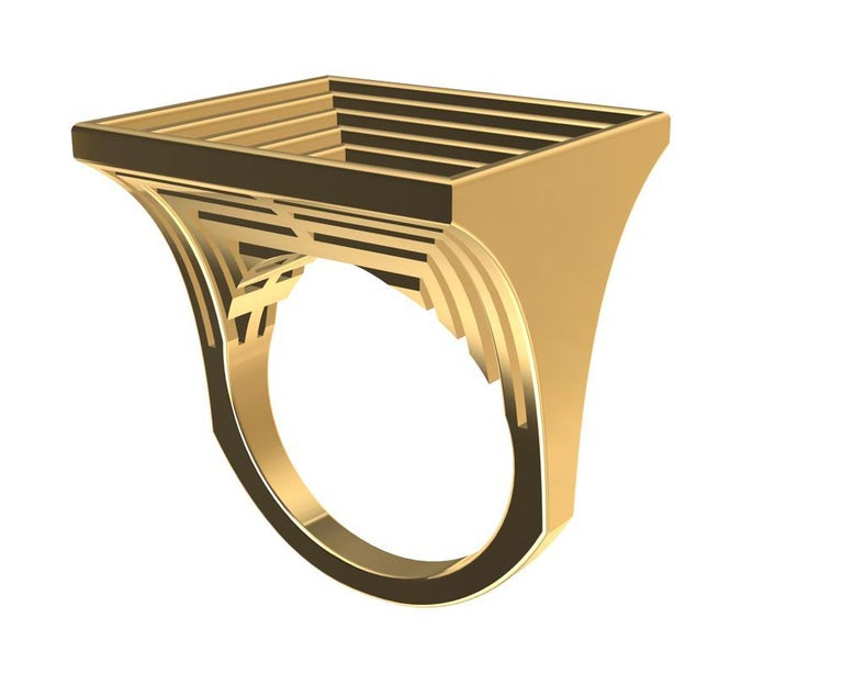 18 Karat Yellow Gold Women's Rectangle Rows Ring For Sale 5