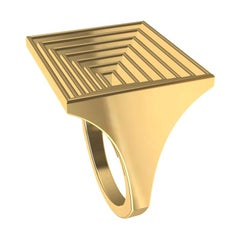 18 Karat Yellow Gold Women's Rectangle Rows Ring