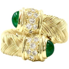 18 Karat Yellow Gold Woven Bypass Ring with Emeralds and Diamonds