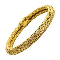 18 Karat Yellow Gold Woven Chain Bracelet