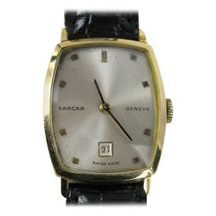18 Karat Yellow Gold Wristwatch Sarcar Watch, 1960s
