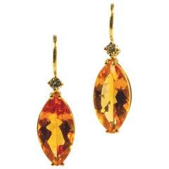 18 Karat Yellow Gold Yellow Citrine and Diamond Earrings