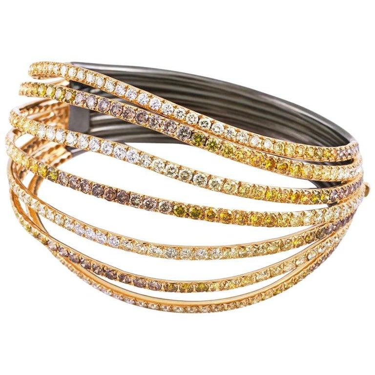 AENEA 18k Yellow Gold Fancy Yellow Brown White Diamonds Bangle For Sale
