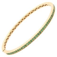 18 Karat Yellow Gold Yellow Emerald Bangle Bracelet
