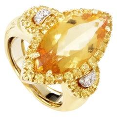 18 Karat Yellow Gold Yellow Gemstone and Diamond Ring C-94