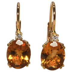 18 Karat Yellow Gold Yellow Oval Citrine and Diamond Earrings