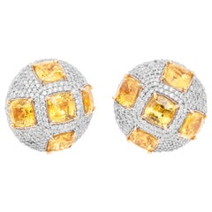 18 Karat Yellow Gold Yellow Sapphire and Diamond Stud Earrings