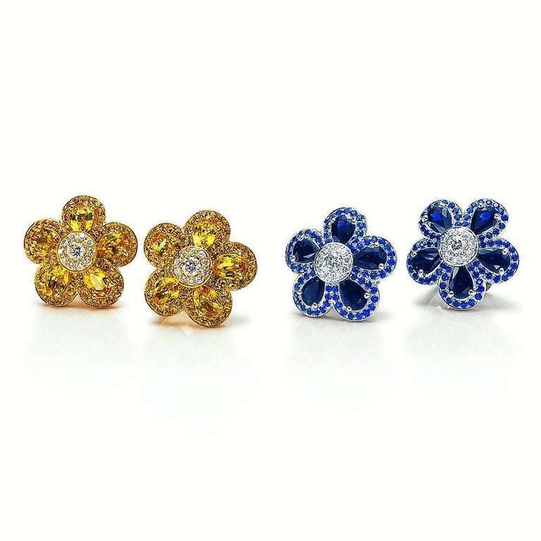 Modern 18 Karat Yellow Gold, Yellow Sapphire Flower Earring For Sale