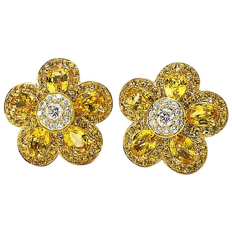 18 Karat Yellow Gold, Yellow Sapphire Flower Earring For Sale