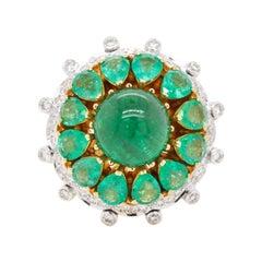 18 Karat Yellow Gold Zambian Emerald Diamond Dome Cocktail Ring