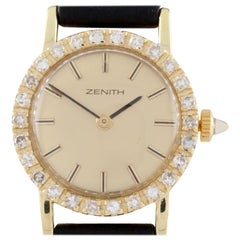 18 Karat Yellow Gold Zenith Hand-Winding Women's Dress Watch with Diamond Bezel