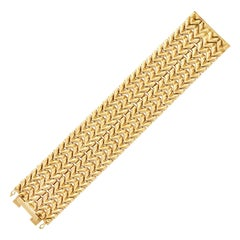 18 Karat Yellow Gold Zigzag Link Wide Bracelet