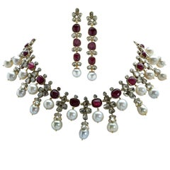 18 Karat Yellow Gold, Diamond, Ruby and Pearl Set