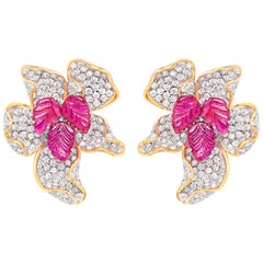 18 Karat Yellow Gold, Brilliant Cut Diamonds and Ruby Studded Earrings