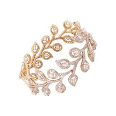 18 Karat Yellow Gold, Brilliant Cut and Rose Cut Diamond Cuff Bracelet