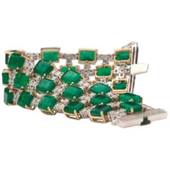 18 Karat Yellow Gold, Emerald and Diamond Lace Bracelet