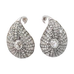 18 Karat Yellow Gold, Rhodium-Plated and Brilliant Cut Diamond Earrings
