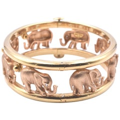 18 Karat Yellow Greek Elephant Style Bracelet