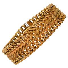 18 Karat Yellow Italian Gold Woven Link Bracelet